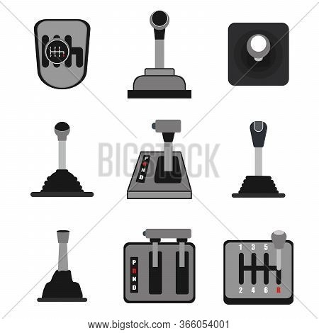 Car Gearbox Icon Set.simple Set Of Manual Gearbox Vector Icons For Web Design On White Background.