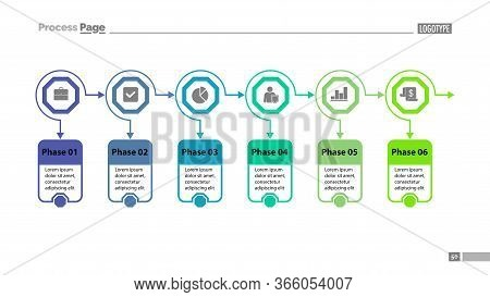 Six Options Process Chart Slide Template. Business Data. Option, Diagram, Design. Creative Concept F
