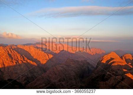Sunrise Over The Mount Sinai Traditionally Known As Jabal Musa, Mountain In The Sinai Peninsula Of E