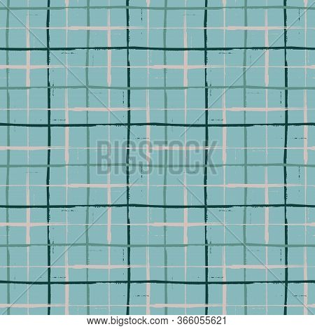 Grunge Line Vector Seamless Grid Pattern Background. Organic Painterly Ink Brush Stroke Style Criss