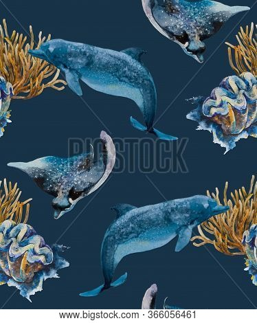 Watercolor Seamless Pattern With Dolphins, Stingrays And Shells In Navy Blue, Ochre And Ultramarine