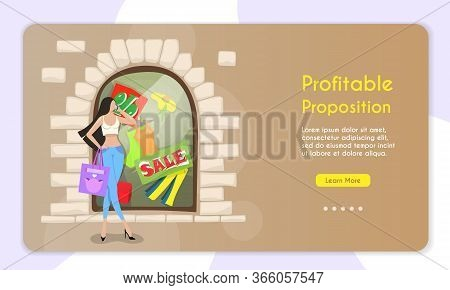 Concept Of Seasonal Discounts. Attractive Young, Fashionably Dressed Woman Discussing Discounts On T