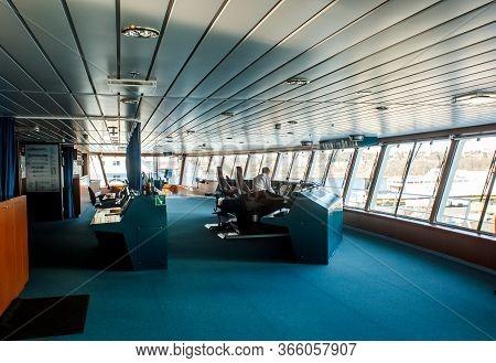 Stockholm, Sweden - April 04 2013: Ship Control (captain) Navigational Bridge. Passenger Ferry