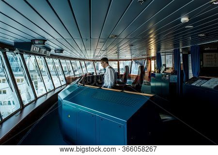 Stockholm, Sweden - April 04 2013: Ship Control (captain) Navigational Bridge. Passenger Ferry