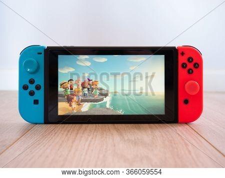May 2020, Uk: Nintendo Switch Animal Crossing New Horizons Online Gameplay White Studio Background