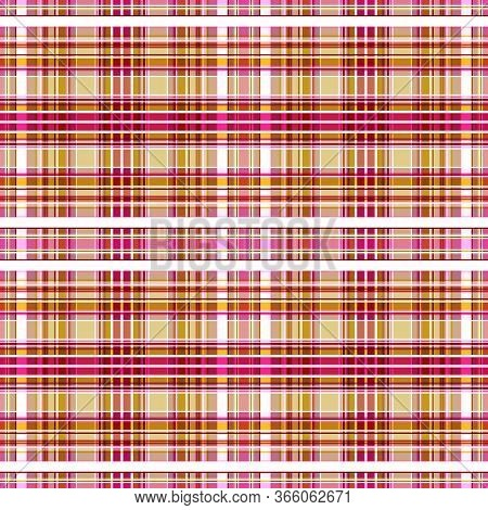Seamless Pattern Of Yellow-brown, Purplish-red, Pink Cells Alternating With White And Ocher Stripes.