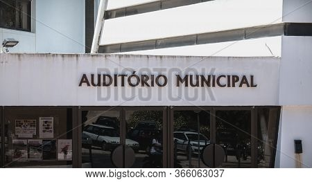 Albufeira, Portugal - May 4, 2018: Architectural Detail Of The Municipal Auditorium And The Municipa