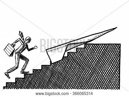 Freehand Drawing Of Business Man Running Up Stairs To A Paper Airplane Waiting To Take Him Beyond Th