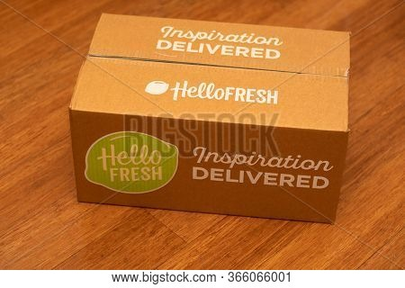Sydney, Australia 2020-04-25 Hello Fresh Meal Kits In A Cardbord Box On The Wooden Floor