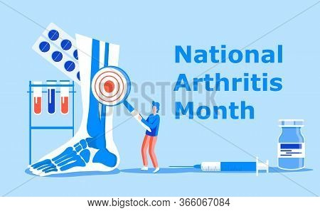 National Arthritis Month Is Celebrated In May In Usa. Blue Ribbon Sign. Rheumatism, Osteoarthritis P