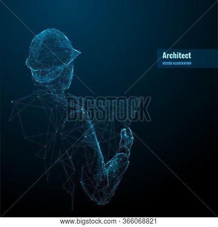 Engineer Or Architect In Hard Hat Holding A Blueprint. Abstract Digital Vector Illustration In Dark