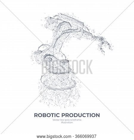 Isolated Robotic Arm In White Background. Industrial Technology Concept. Abstract Polygonal Wirefram