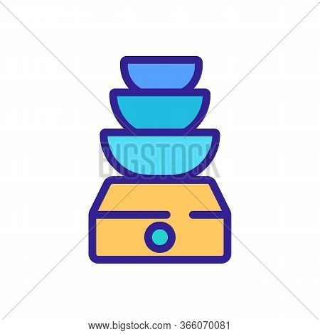 Three Bowl Double Boiler Icon Vector. Three Bowl Double Boiler Sign. Color Symbol Illustration