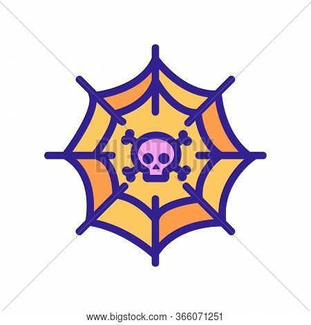Spider Web With Skull Inside Icon Vector. Spider Web With Skull Inside Sign. Color Symbol Illustrati