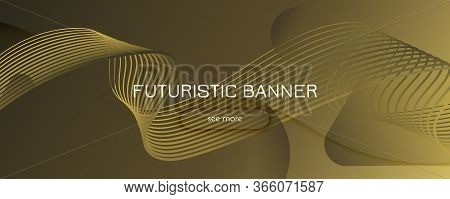 Abstract Vector Curve. Yellow Geometric Wallpaper. 3d Flow Shape. Digital Pattern. Gold Abstract Vec