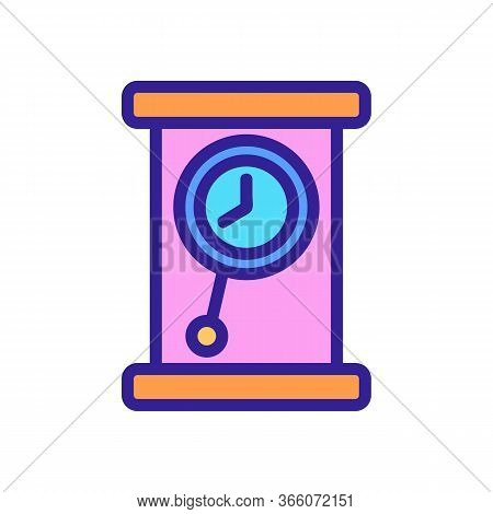 Portable Classic Pendulum Clock Icon Vector. Portable Classic Pendulum Clock Sign. Color Symbol Illu