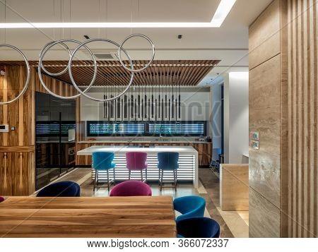 Modern luxury kitchen and wooden texture materials