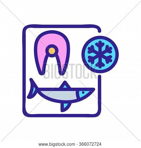 Cutting Herring And Freezing Steaks Icon Vector. Cutting Herring And Freezing Steaks Sign. Color Sym