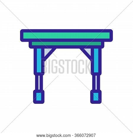 Portable On Casters Folding Table Icon Vector. Portable On Casters Folding Table Sign. Color Symbol