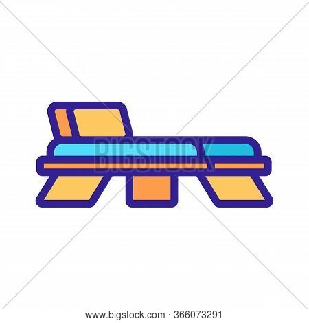 Wooden Deck Chair With Back Icon Vector. Wooden Deck Chair With Back Sign. Color Symbol Illustration