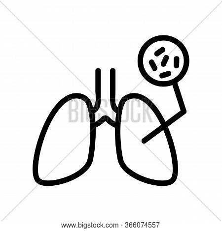 Infectious Bacteria In Lungs Icon Vector. Infectious Bacteria In Lungs Sign. Isolated Contour Symbol