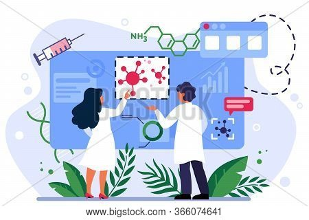 Medical Scientists Studying Corona Virus Pandemic Infographics. Doctors Analyzing Covid 2019 Outbrea