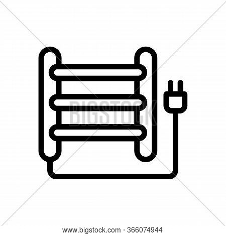 Electric Heated Towel Rail Icon Vector. Electric Heated Towel Rail Sign. Isolated Contour Symbol Ill