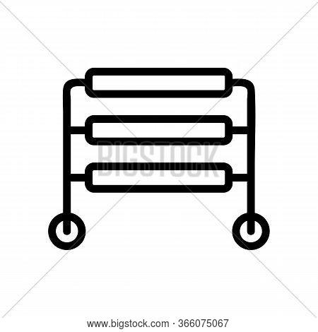 Three Level Heated Towel Rail Icon Vector. Three Level Heated Towel Rail Sign. Isolated Contour Symb