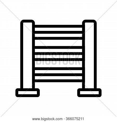 Heated Towel Rail With Horizontal Holder Icon Vector. Heated Towel Rail With Horizontal Holder Sign.