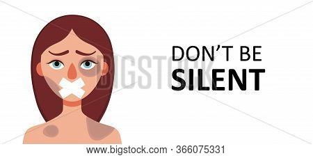 Sad Woman With Bruises Wounds With Closed Mouth On White Background.concept Of Domestic Violence, Se