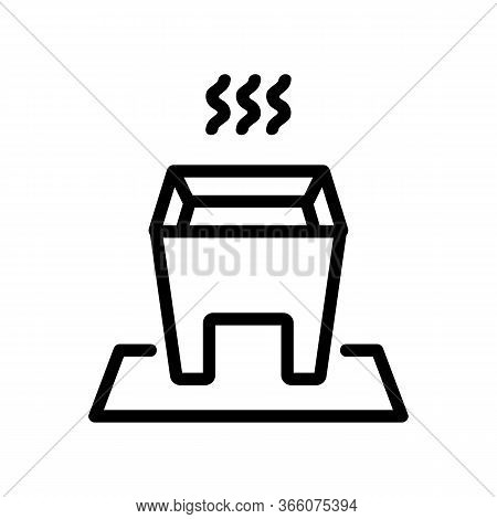 Hot Fondue With Steady Legs Icon Vector. Hot Fondue With Steady Legs Sign. Isolated Contour Symbol I
