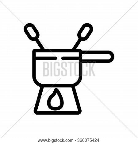Fondue Bowler With Skewers Icon Vector. Fondue Bowler With Skewers Sign. Isolated Contour Symbol Ill
