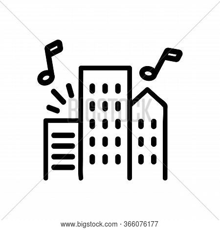 Music Sounding From Apartment Buildings Icon Vector. Music Sounding From Apartment Buildings Sign. I