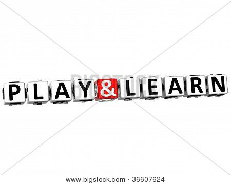 3D Play And Learn Button Click Here Block Text