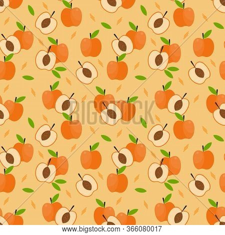 Apricot Fruit Seamless Pattern.  Fresh Fruit Concept.