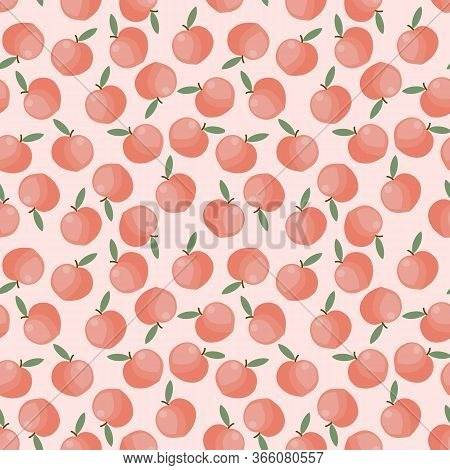 Peach Fruit Seamless. Sweet And Fresh Fruit Concept.