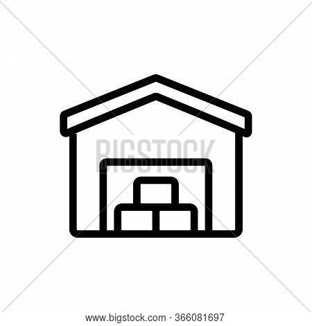Utility Warehouse Garage Icon Vector. Utility Warehouse Garage Sign. Isolated Contour Symbol Illustr