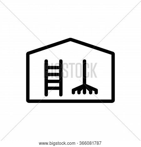 Household Equipment Shed Icon Vector. Household Equipment Shed Sign. Isolated Contour Symbol Illustr