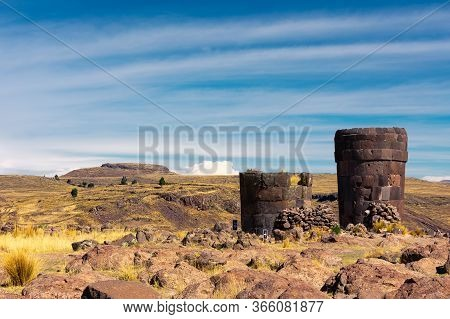 Ancient Tomb Of Indigenous People Called Sillustani In Puno, Southern Peru. Four