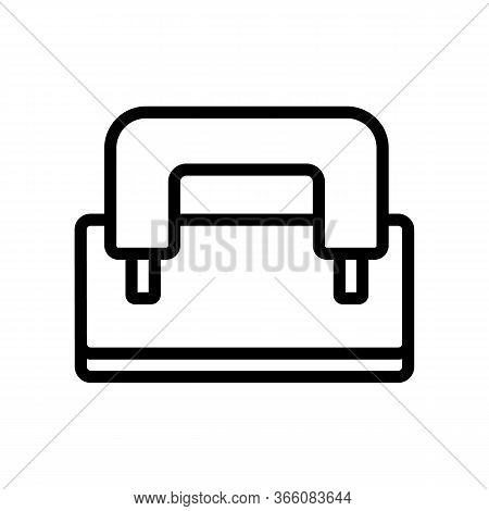 Hole Punch With Holder Icon Vector. Hole Punch With Holder Sign. Isolated Contour Symbol Illustratio