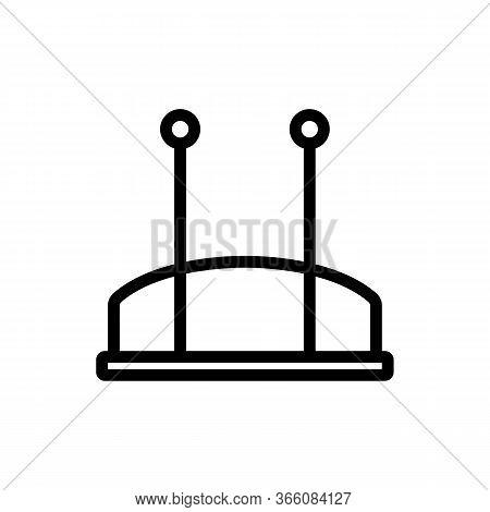 Set-top Box Hdtv Rear View Icon Vector. Set-top Box Hdtv Rear View Sign. Isolated Contour Symbol Ill
