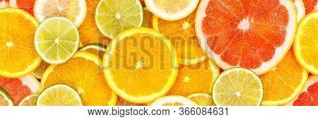 Citrus Fruits Collection Food Background Banner Oranges Lemons Limes Grapefruit Fresh Fruit