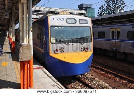 Chiayi, Taiwan - December 2, 2018: Passenger Train Of Taiwan Railways (tra) In Taiwan. Tra Carries M