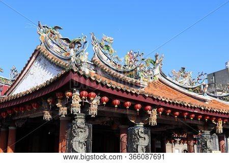 Lukang, Taiwan - December 2, 2018: Exterior View Of Xinzu Temple In Lukang, Taiwan. Lukang City Boas