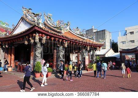 Lukang, Taiwan - December 2, 2018: People Visit Xinzu Temple In Lukang, Taiwan. Lukang City Boasts O