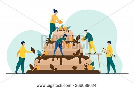 Bakers Preparing Wedding Or Birthday Cake. People Decorating Big Sweet Pastry Meal With Chocolate Gl