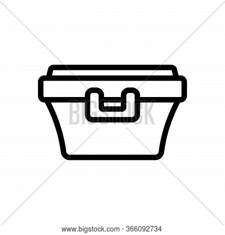 Food Container With Latch Handle Icon Vector. Food Container With Latch Handle Sign. Isolated Contou