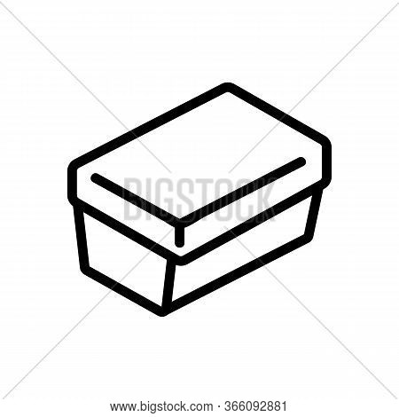 Rectangular Lunch Box Icon Vector. Rectangular Lunch Box Sign. Isolated Contour Symbol Illustration