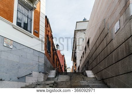 Madrid, Spain - November 1, 2019: View Of Empty Street With Steps In Central Madrid. Del Rio Street,