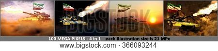 4 Illustrations Of Very High Resolution Modern Tank With Fictional Design And With Iran Flag - Iran
